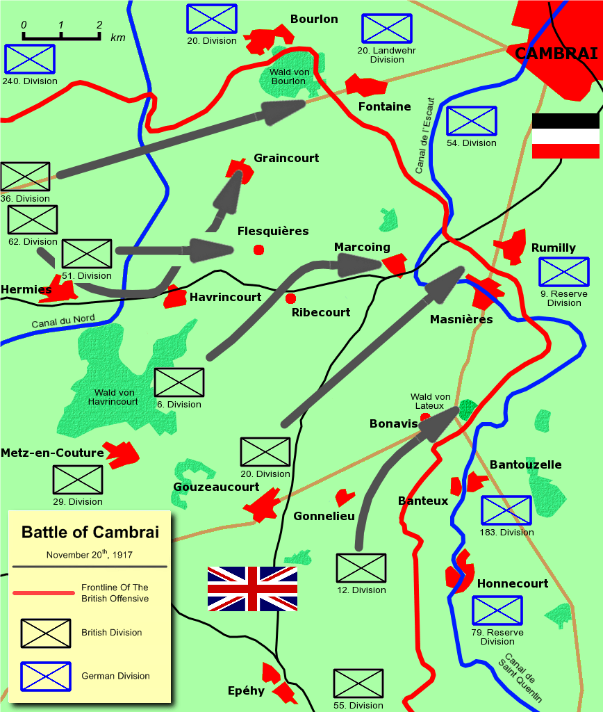 Battle of Cambrai, France, 20 November 1917, The 20th British Division in which Sidney Payne was stationed with the 10th Battalion Rifle Brigade, moved from Gouzeaucourt to Masnières, France, where he suffered injuries and died the following day