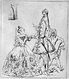 Karikatur von Farinelli (und Händel), unbekannter Autor vor 1750, Public Domain