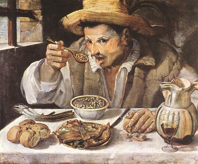 Annibale Carrache,  Le mangeur de fèves,  1580-90, huile sur toile, 57 x 68 cm, galerie Colonna, Rome