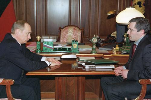 Michail Borissowitsch Chodorkowski während eines Empfangs bei Putin, März 2002