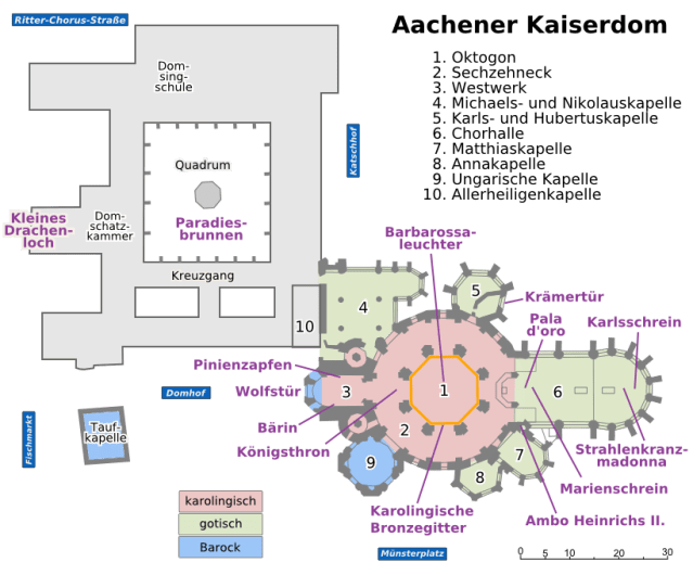 Aachen Cathedral lay-out (per Wikimedia)