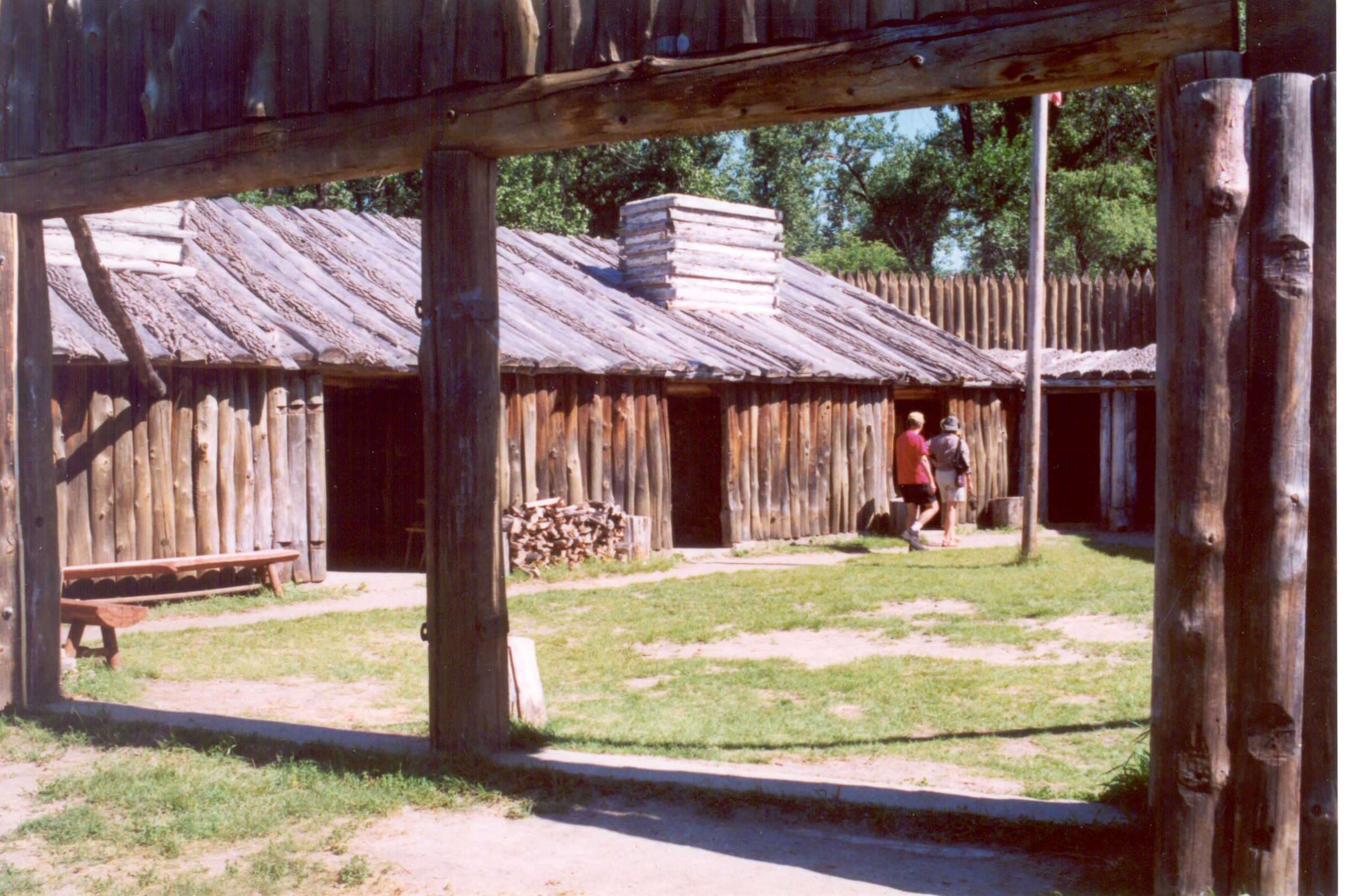 English: Reconstruction of Fort Mandan, Lewis ...