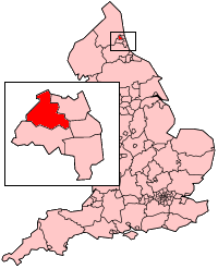 Newcastle upon Tyne shown within England