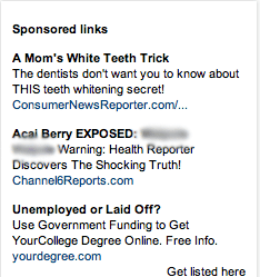 A set of online ads featuring fake news scams