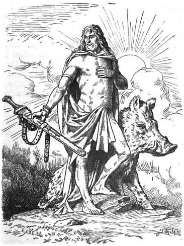 Dios Freyr ilustrado por Johannes Gehrts