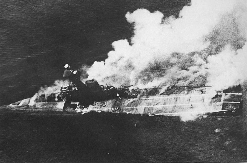 Aircraft carrier HMS Hermes sinking (from wikimedia commons)