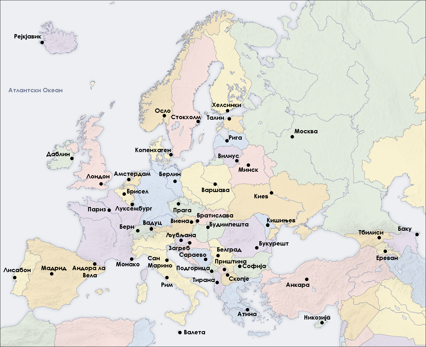 Map Of Europe Capitals