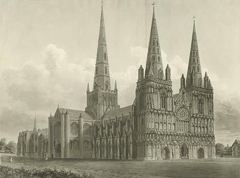 Showing a north west view of the Cathedral.Inscribed 'To the Honble. and Right Rev. James Cornwallis D.D., Lord Bishop of Lichfield and Coventry, this North West View of the Cathedral Church of Lichfield is by Permission most humbly dedicated by his Lords. Date 1807