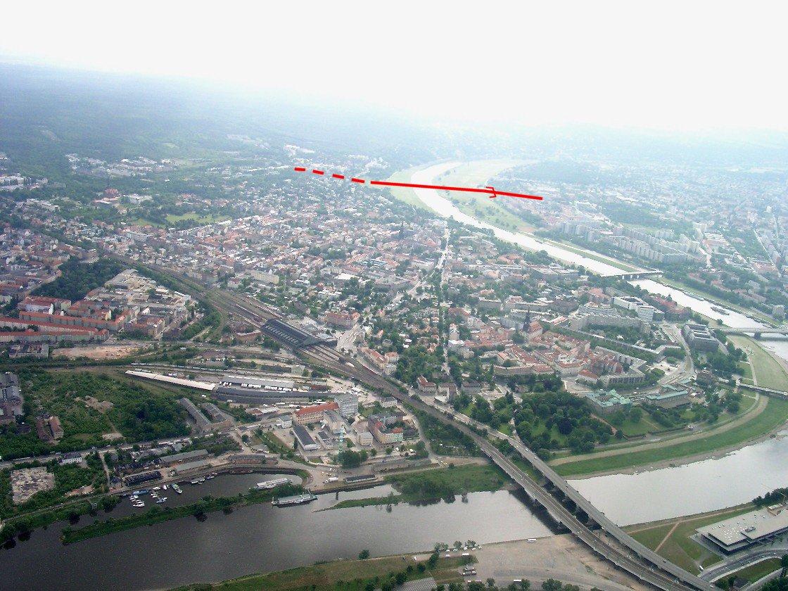 Position du projet de pont de Waldschlößchenbrücke à Dresde