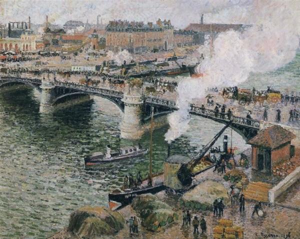 Camille Pissarro Pont Boieldieu in Rouen Rainy Weather