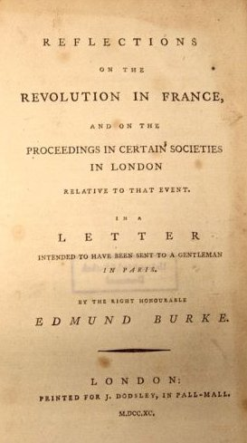 Title page from the Edmund Burke's Reflections...
