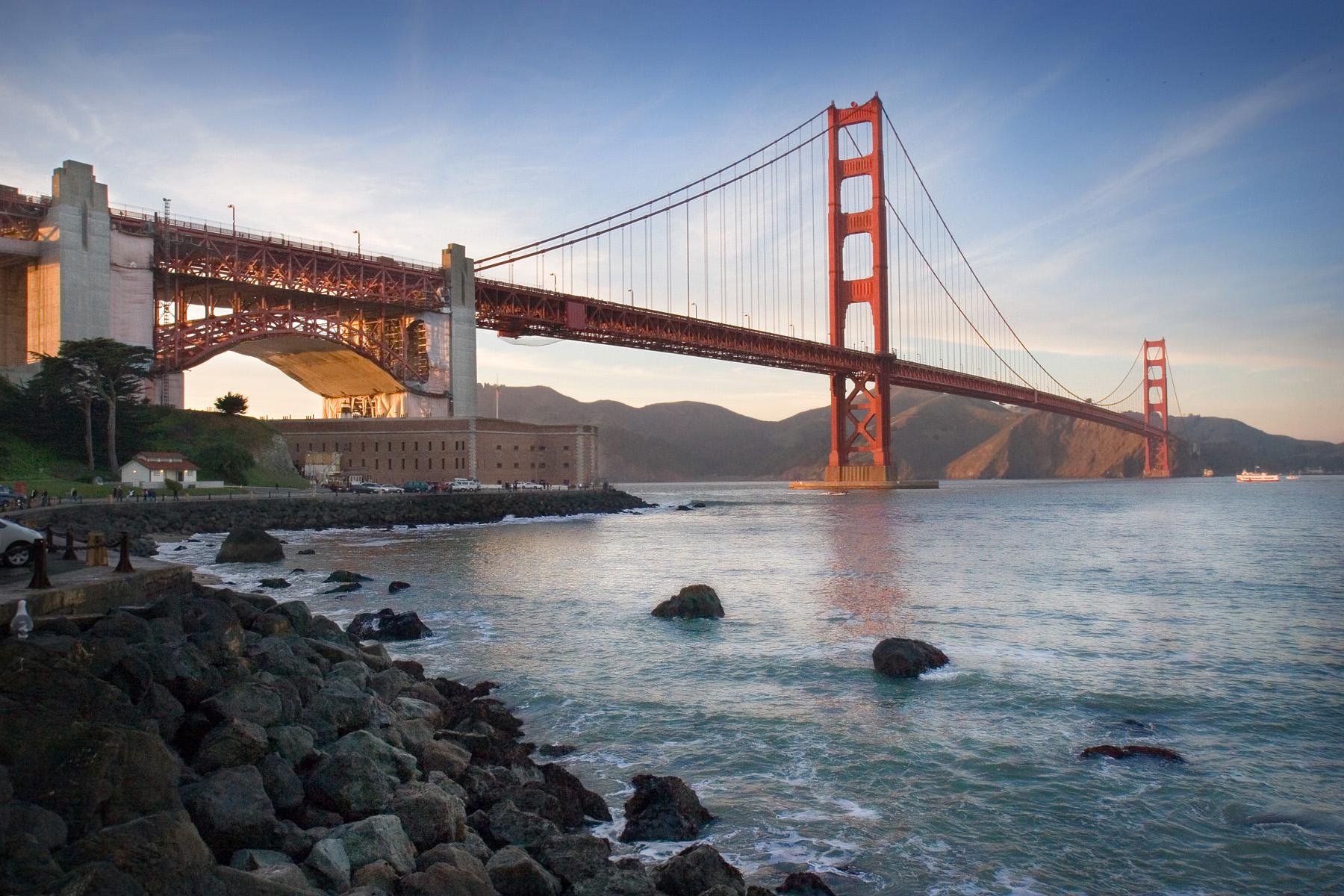 Golden gate bridge from ground level
