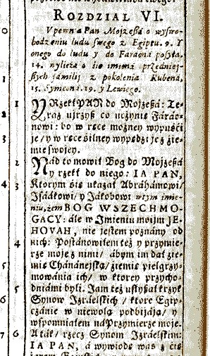 English: Exodus 6:3 in Polish protestant Gdans...