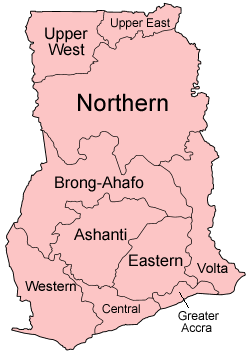 Map of the regions of Ghana, named in English ...
