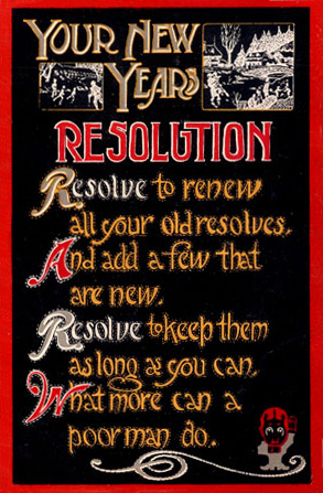 New Year's Resolutions postcard