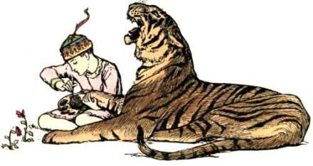 Boy with needle and tiger