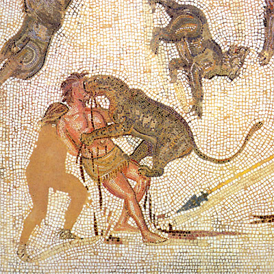 Condemned man attacked by a leopard in the arena (3rd-century mosaic from Tunisia).