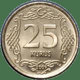 English: 25 kuruş obverse Türkçe: 25 kuruş ön yüzü