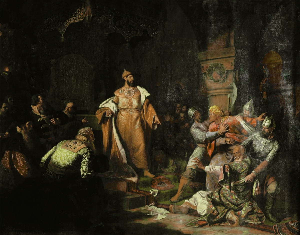 "Tsar Ivan III 1440-1505 Tearing the Deed of Tatar Khan"". Paintng by Nikolay Shustov, 1862."