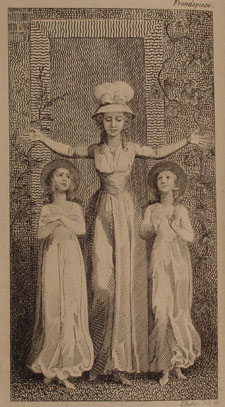 Engraving showing a female teacher holding her arms up in the shape of a cross. There is one female child on each side of her, both gazing up at her.
