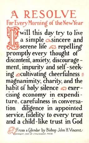English: New Year's Resolutions postcard