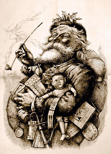 Historic engraving of Santa