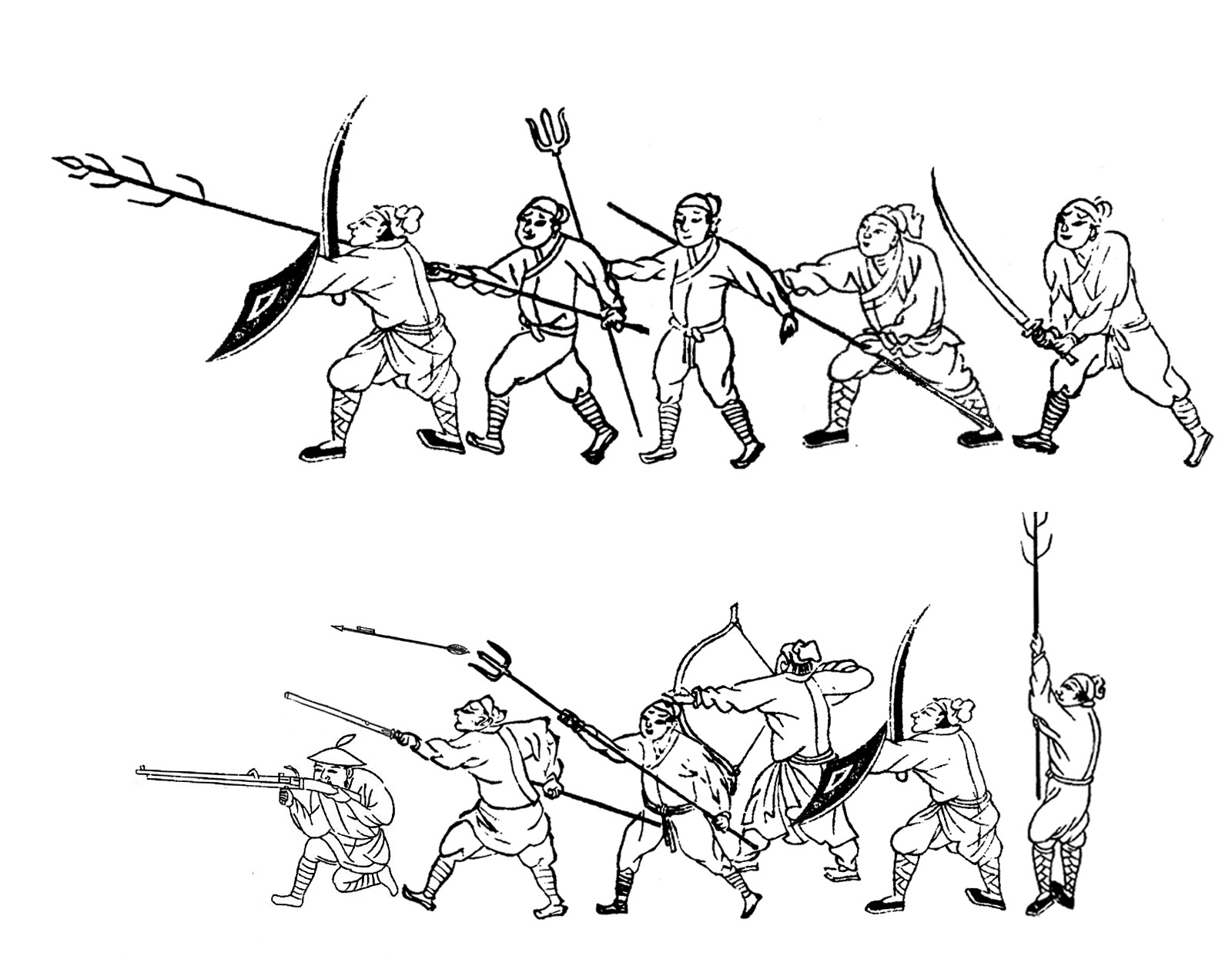 Demonstration of tridents vs. pikes in medieval East Asian