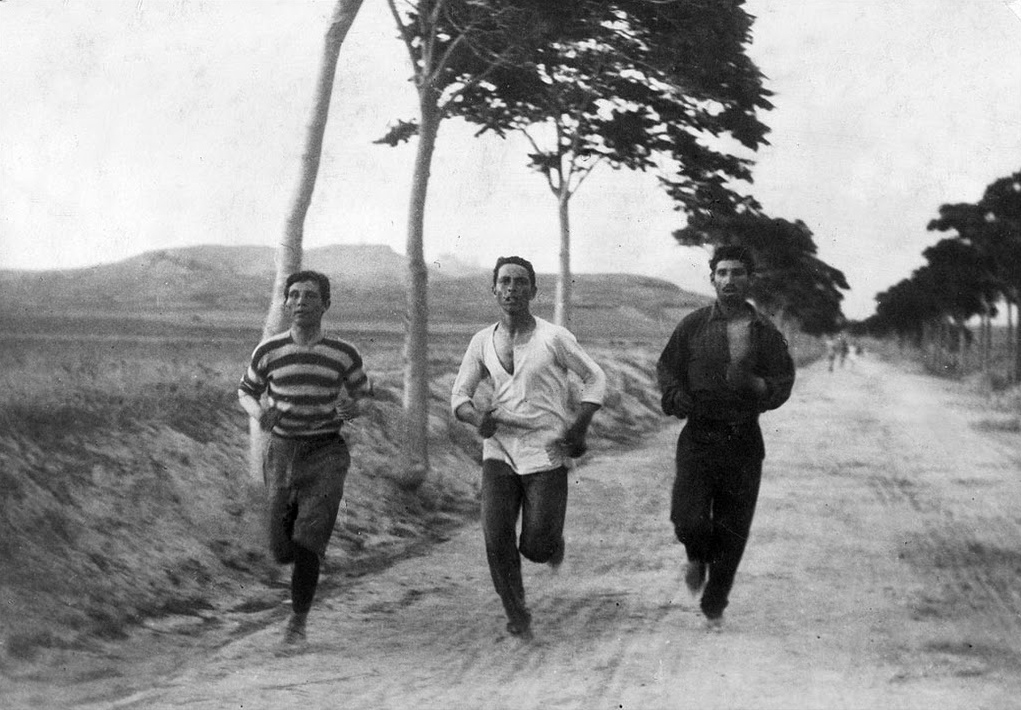 Marathon runners on the road to Athens