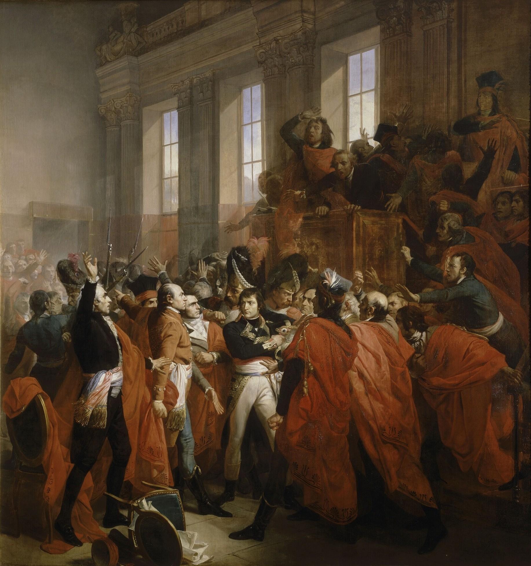 Napoleon Bonaparte in the coup d'état of 18 Brumaire in Saint-Cloud.