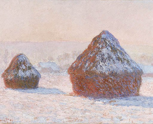 """Wheatstacks, Snow Effect, Morning"" by Claude Monet"
