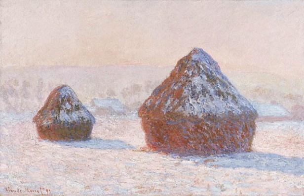 """Wheatstacks, Snow Effect, Morning"" by Claude Monet"