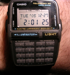 A Casio Databank calculator watch.