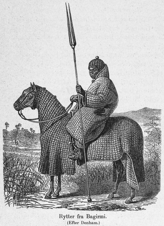 African horseman of Baguirmi in full padded armour suit