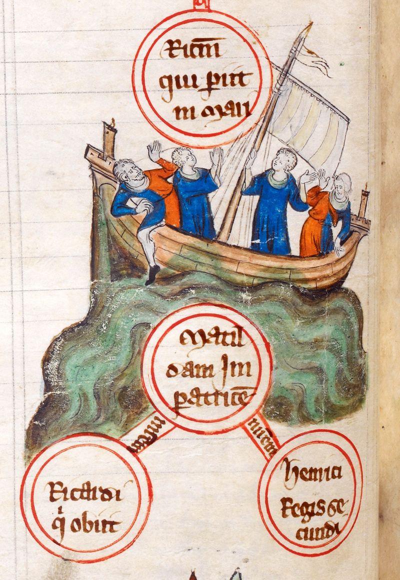 Untergang der Blanche-Nef, anonymus, aus Cotton Claudius dii  f45v, 12. Jahrhundert, public domain/gemeinfrei