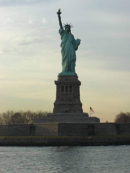 The statue of liberty from the water