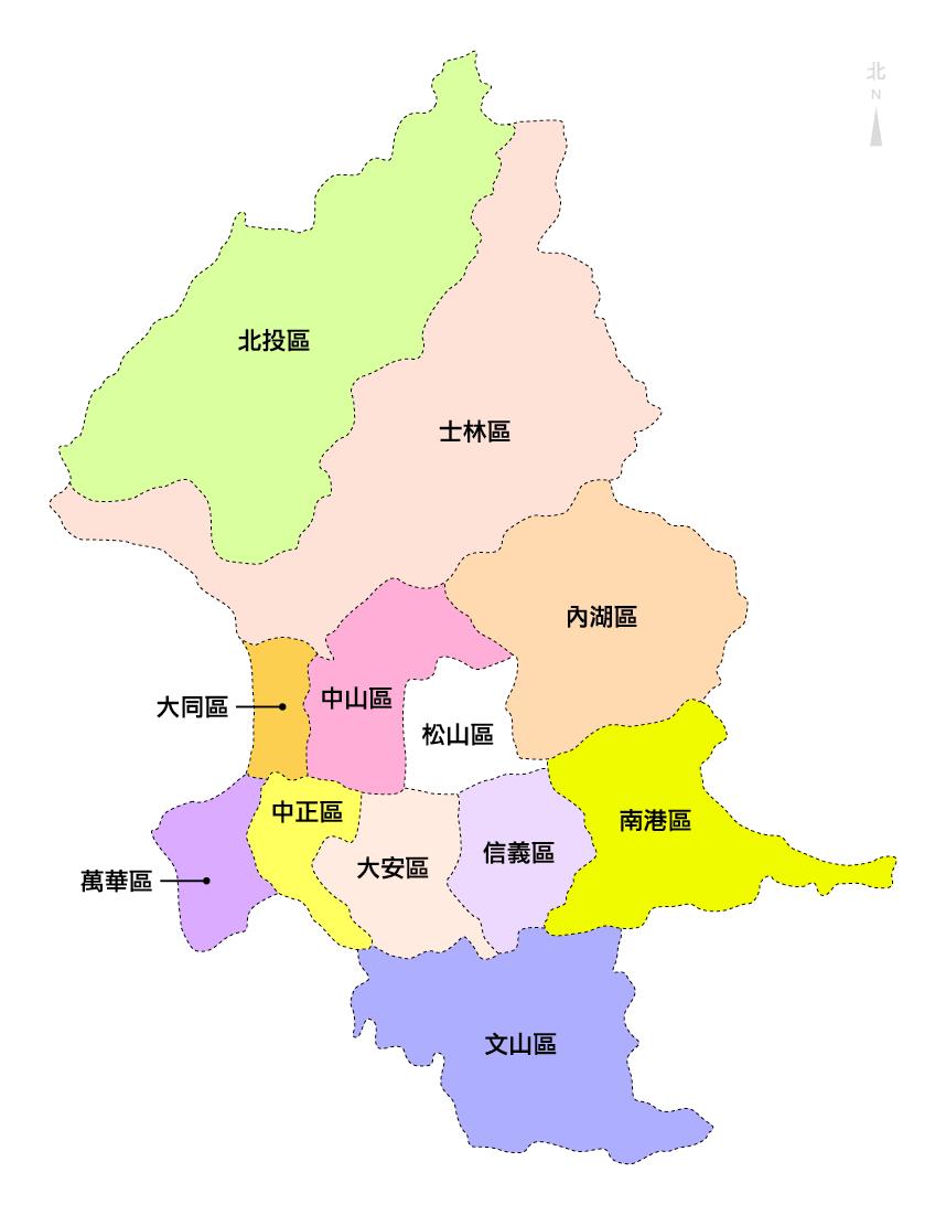 File:Taipei district map.png - 維基百科,自由的百科全書