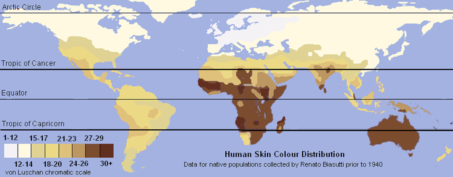 World indigenous skin color distribution map, based on von Luschan's scale