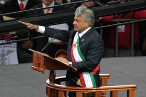 English: Andrés Manuel López Obrador being pro...