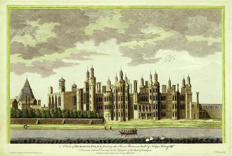 A view of Richmond Palace published in 1765. It was based on older drawings as much of the palace had been demolished by that date.