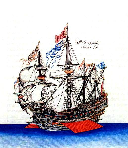 "Flaggschiff, das Bayezid II. sandte, um die Juden aus Spanien zu retten - ""Göke"" (1495) was the flagship of Kemal Reis Contemporary miniature from the Ottoman period, Topkapı Palace Library, Istanbul"
