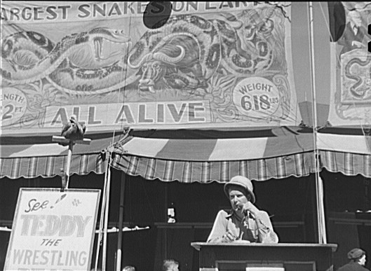 File:Vermont state fair barker bw.jpg