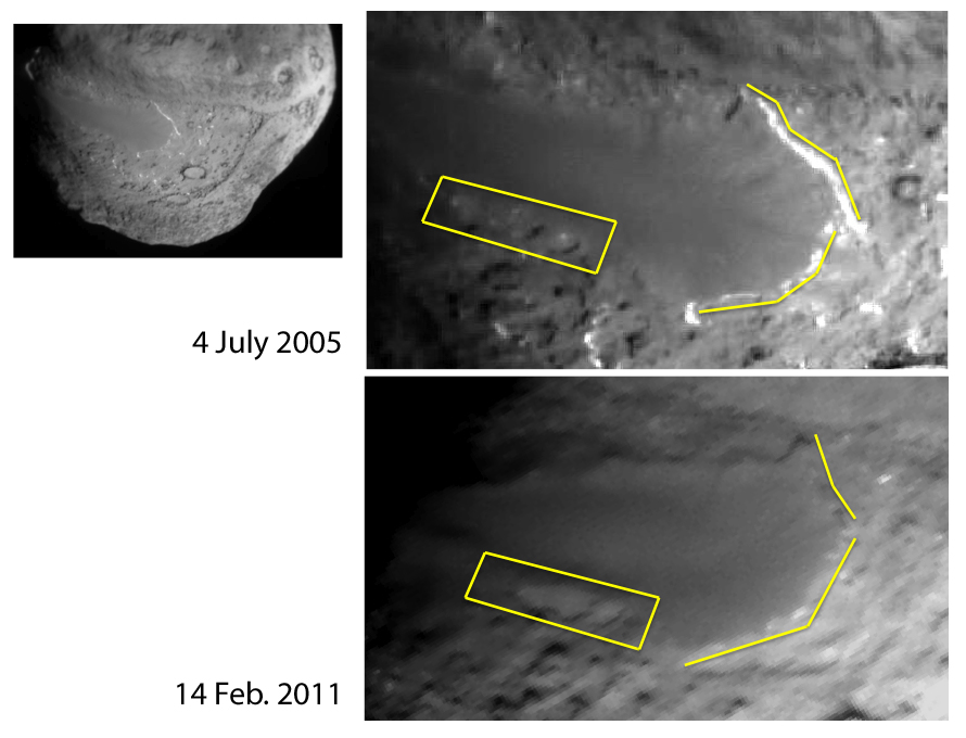 Annotated images of Tempel 1 from two spacecraft.