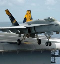 f a 18 hornet fighter departing aircraft carrier a gray overall aircraft [ 2100 x 1391 Pixel ]