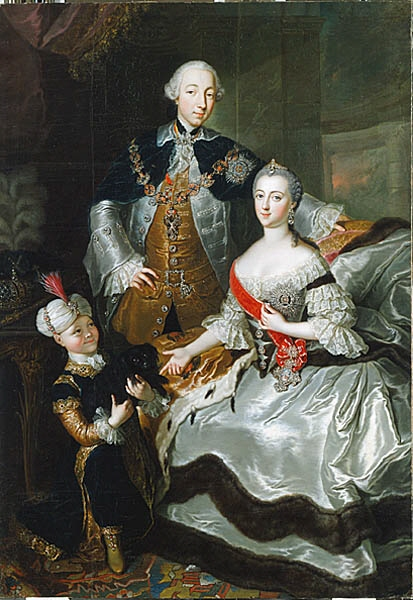 Grand Duchess Catherine with her husband Peter III Fedorovich.