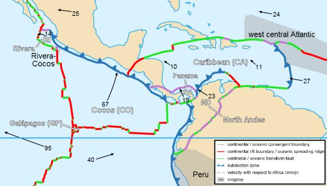 Tectonic plate boundaries in the Caribbean Sea.