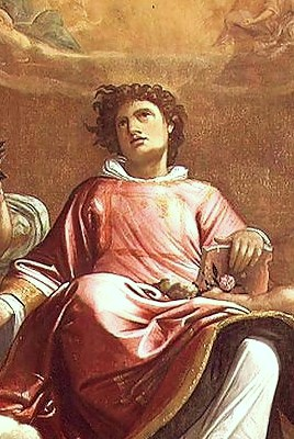 St Stephen (detail), painting by Giacomo Cavedone