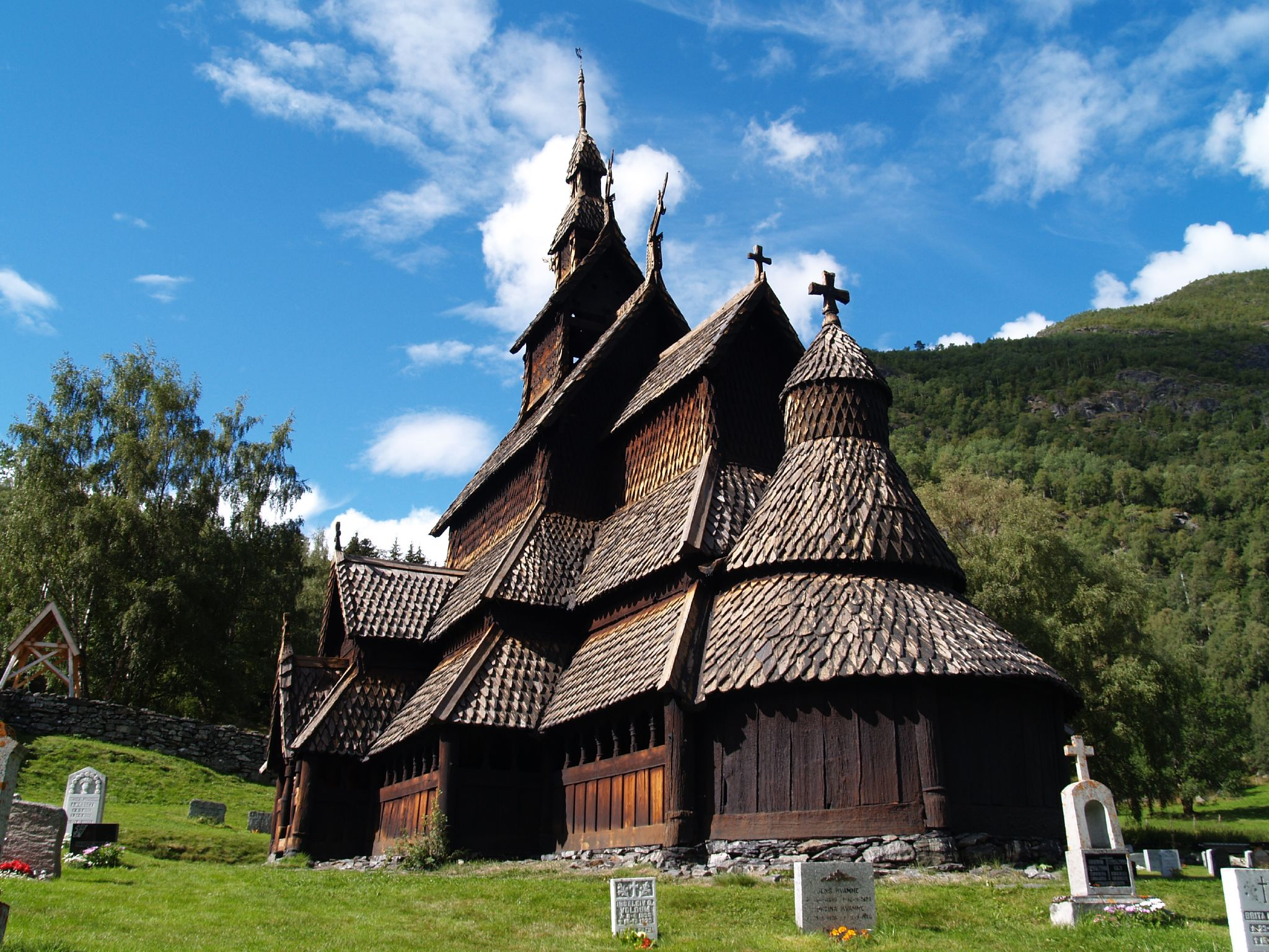 800 year old stave church made entirely from wood without
