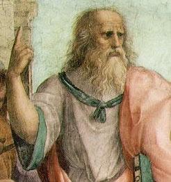 English: The School of Athens (detail). Fresco...