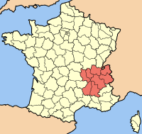 Plassering av Rhône-Alpes i Frankrike