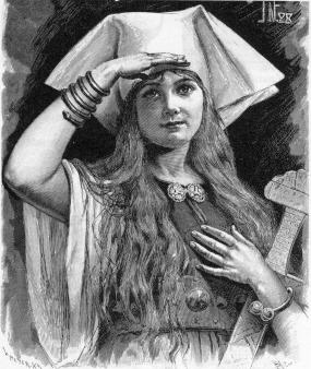 Black and white illustration of Svanhild